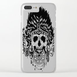 Indian chief , skull art , custom gift design Clear iPhone Case