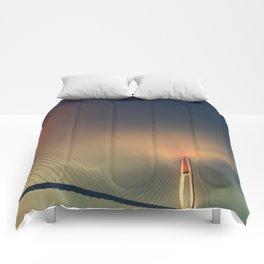 Bridge in Fog 2 Comforters