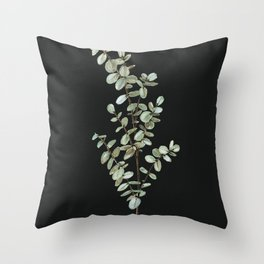 Baby Blue Eucalyptus Watercolor Painting on Charcoal Throw Pillow