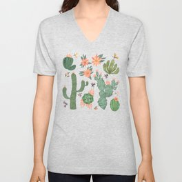 Succulents in Blue Unisex V-Neck