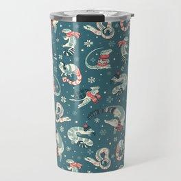 Winter herps in dark blue Travel Mug