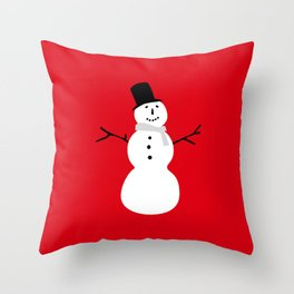 Christmas Snowman-Red Throw Pillow