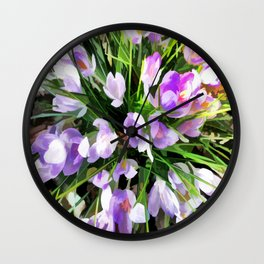 Soft Painterly Crocuses Wall Clock