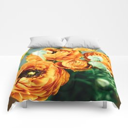 Orange ranunculus Comforters