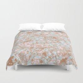 Mint Blush & Rose Gold Metallic Marble Texture Duvet Cover