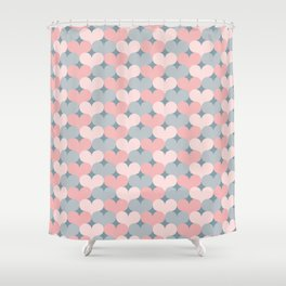 Heart pattern. Pink and gray Shower Curtain