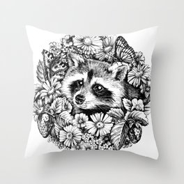 """Summer raccoon. From the series """"Seasons"""" Throw Pillow"""
