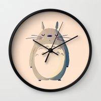 nan lawson Wall Clocks featuring My Neighbor by Nan Lawson