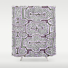 Song to Support Good Health - Traditional Shipibo Art - Indigenous Ayahuasca Patterns Shower Curtain