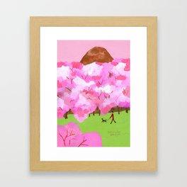 Under cherry blossoms Framed Art Print
