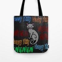 sassy Tote Bags featuring Sassy Kitty by Wired Circuit
