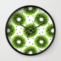 kiwi Wall Clocks featuring Kiwi by beach please