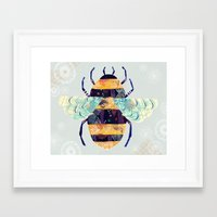 bee Framed Art Prints featuring bee by Yellow Button Studio