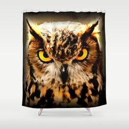 owl look digital painting reacstd Shower Curtain