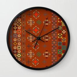 Rust Boho Geometric Pattern Wall Clock
