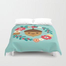Acorn and Flowers Duvet Cover