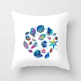 Conch starfish colorful dive water sea gift Throw Pillow