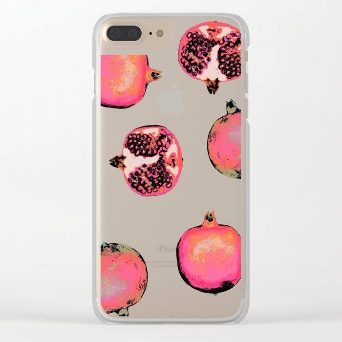 Pomegranate Pattern Clear iPhone Case