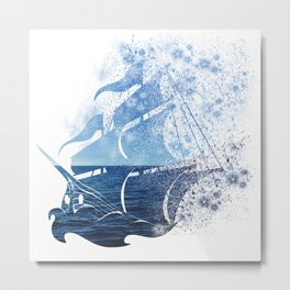 Abstract sailing ship Metal Print