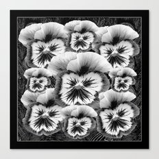 Black & White Pansy Collage Garden Art Canvas Print