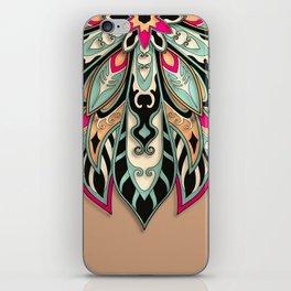 Tribal Geometric brown and green Mandala iPhone Skin