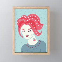 Portrait Of A Girl With Pink Hair Framed Mini Art Print