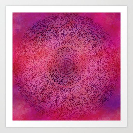 Watercolor Mandala Painting Red Pink Art Print