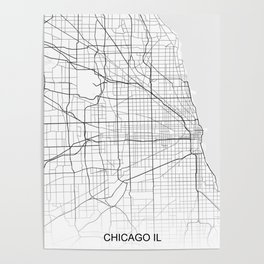 Chicago IL White Map Poster