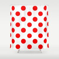 polka Shower Curtains featuring Polka Dots (Red/White) by 10813 Apparel