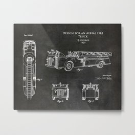 1930s Aerial Fire Truck patent Metal Print