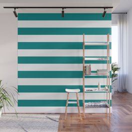 Horizontal Stripes (Teal/White) Wall Mural