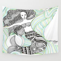 mermaids Wall Tapestries featuring Mermaids by winnie patterson