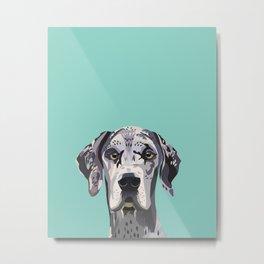 Great Dane pet portrait art print and dog gifts Metal Print