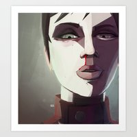 borderlands Art Prints featuring Borderlands - Tannis by BEN Olive