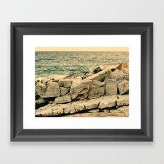 Sea on the rocks Framed Art Print