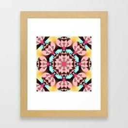 Pink, blue, brown and yellow kaleidoscope pattern design Framed Art Print