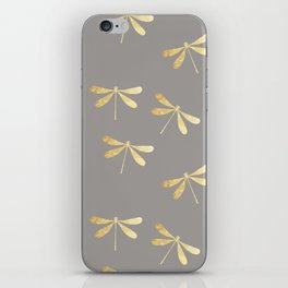 dragonfly pattern: gold & grey iPhone Skin