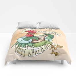 Alan-A-Dale Rooster : OO-De-Lally Golly What A Day Tattoo Watercolor Painting Comforters