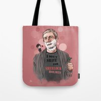 johnlock Tote Bags featuring Shaving by Monika Gross