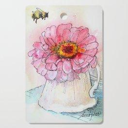 Botanical Flower Pink Zinnias in Pitcher Cutting Board