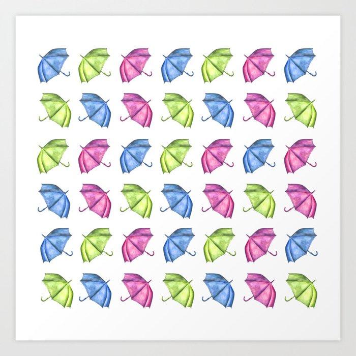 photo relating to Umbrella Pattern Printable identify Colourful Umbrella Routine Artwork Print