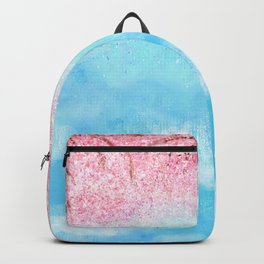 watercolor light blue sky pink glitters Backpack