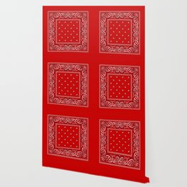 Paisley - Bandana - Red - Southwestern - Boho Wallpaper