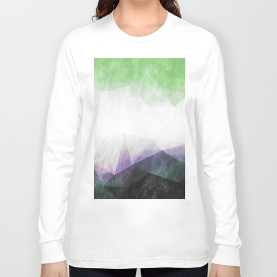 On the mountains- green watercolor - triangle pattern Long Sleeve T-shirt