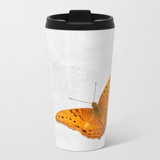 Butterfly and ghost on textured white Metal Travel Mug