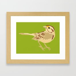 Sparrow on green Framed Art Print