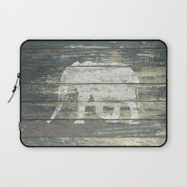 White Elephant Silhouette on Teal Wood A215C Laptop Sleeve