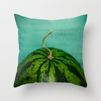 watermelon Throw Pillows featuring Watermelon by Olivia Joy StClaire