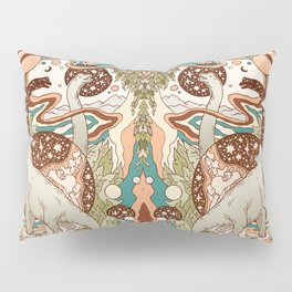 Jurassic Portal | Retro Rainbow Palette | Dinosaur Science Fiction Art Pillow Sham