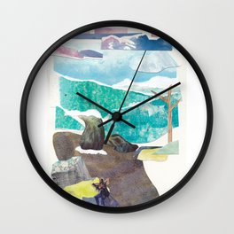 Traveller by a Waterfall Wall Clock
